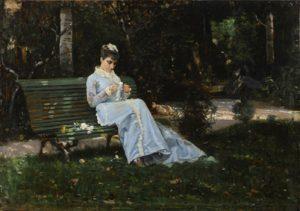 01_Cristiano Banti, Ritratto di Alaide seduta in giardino, antica collezione Banti
